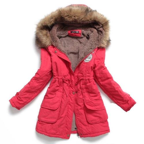 Winter Jacket Medium-Long Thick Plus Sized 4XL Outwear Hooded Coat Slim Parka Cotton-padded Jacket