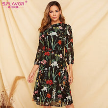 Load image into Gallery viewer, S.FLAVOR Short Sleeve Printing Dress For Female New Fashion Chiffon Slim A-line Dress Bohemian Hollow Out Vestidos