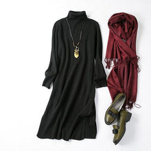 Load image into Gallery viewer, Fall 2019 Black Turtleneck Sweater Dress Solid Color Wool Blending Knitted Long Dress Slit