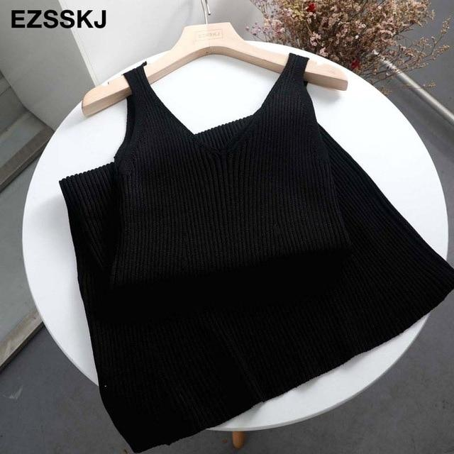 Autumn Winter Woman Thick Knit Tank Dress Casual Sleeveless Sweater Dress Camisole Female V-Neck Camis Sexy Sweater Dress