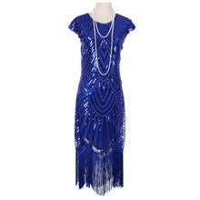 Load image into Gallery viewer, Women's 1920s Vintage Flapper Great Gatsby Party Dress V-Neck Sleeve Sequin Fringe Midi Dresses Summer Art Deco Embellished