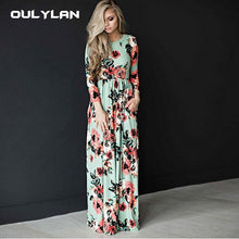 Load image into Gallery viewer, Oulylan Autumn Winter Long Dress Women Floral Print Boho Tunic Maxi Evening Party Dresses Ladies Casual Retro Hippie Vestidos