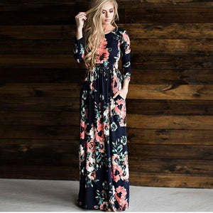 Oulylan Autumn Winter Long Dress Women Floral Print Boho Tunic Maxi Evening Party Dresses Ladies Casual Retro Hippie Vestidos
