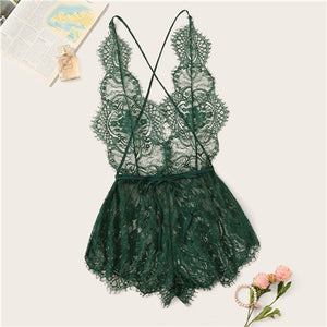 SHEIN Eyelash Lace Deep V Neck Sexy Criss Cross Back Solid Lace Sleep Rompers Women Summer Teddies Sleepwear Onesies