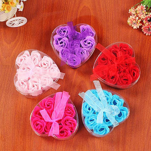 Rose Soap Flower Case 9Pcs Heart Scented Bath Body Petal Rose Flower Soap Wedding Decoration Gift Festival Box #40