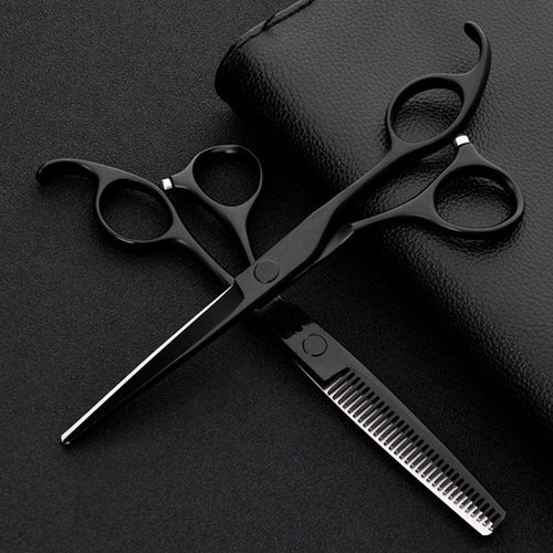 Professional Japanese Steel 440c 6 Inch Black Hair Scissors Set Cutting Barber Salon Haircut Thinning Shears Hairdressing Scissors