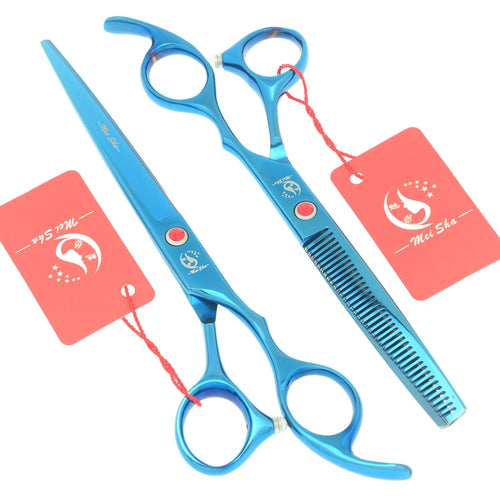 7.0 Inch Big Professional Hairdressing Cutting Scissors 6.5 Inch Thinning Shears Salon Barbers JP440C Blue Hair