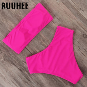 RUUHEE Bandage Bikini Swimwear Women Swimsuit High Waist Bikini Set 2019 Bathing Suit Push Up Maillot De Bain Femme Beachwear