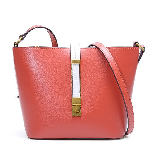 1097 New Fashion Top Layer Genuine Leather Handbag Totes Buckets Single Shoulder Sloping Women's Bags