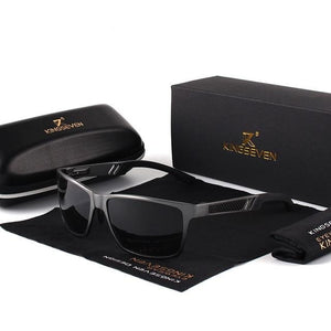 KINGSEVEN Men's Polarized Sunglasses Aluminum Magnesium Sun Glasses Driving Glasses Rectangle Shades