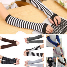 Load image into Gallery viewer, Women Long Sleeve Striped Fingerless Gloves Lady Stretchy Soft Knitted Wrist Arm Warmer  FS99