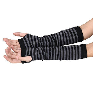 Women Long Sleeve Striped Fingerless Gloves Lady Stretchy Soft Knitted Wrist Arm Warmer  FS99