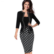 Load image into Gallery viewer, Nice-forever One-piece Faux Jacket Retro Contrast Polka Wear to Work Business vestidos Office Bodycon Women Sheath Dress B407