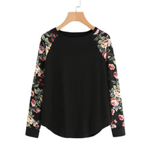 Load image into Gallery viewer, SHEIN Floral Raglan Sleeve Curved Hem Womens Tee Shirts Autumn Womens T shirts Casual Ladies Black Long Sleeve T shirt