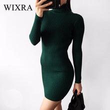 Load image into Gallery viewer, Wixra Warm and Charm Slim Sheath Package Hip Knitted Sweater Dress Long Sleeved Turtleneck Thick Bodycon Sweater Dress