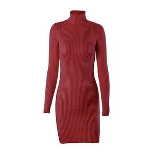 Wixra Warm and Charm Slim Sheath Package Hip Knitted Sweater Dress Long Sleeved Turtleneck Thick Bodycon Sweater Dress