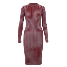 Load image into Gallery viewer, Wixra Warm and Charm Women Sweater Dress 2017 Fall Winter Long Sexy Lurex Bodycon Dresses Elastic Striped Skinny Knitted Dress