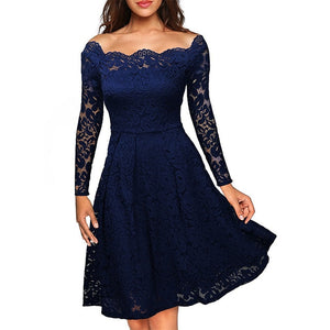 Woman Dresses 2018 Long Sleeve Slash Neck Wedding Party Wear Casual A-line Sexy Red Black White Lace Dress Plus Size S-3XL