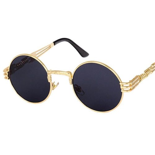 Vintage Retro Gothic Steampunk Mirror Sunglasses Gold and Black Sun Glasses Vintage Round Circle Men UV