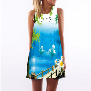 BHflutter Vestidos 2018 New Style Summer Dress Sleeveless Hearts Print Casual Women Dress Above Knee Women Short Beach Dresses