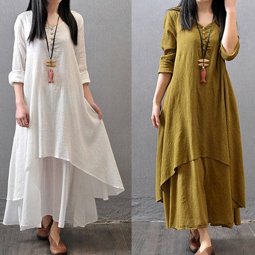 Spring Summer Women Long Cotton Linen Dress White Plus Size False Two Pieces O-Neck Maxi Dresses Office Casual Loose Dress