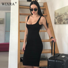 Load image into Gallery viewer, WIXRA Basic Vest Dress Women Back Split Dress 2018 Summer New Fashion Sleeveless Vest Tanks Slim Bodycon Strap Party Dresses