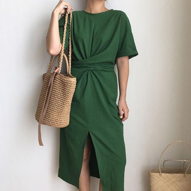 2019 Women'S Summer Cotton Bodycon Vintage Long Dress Female Short Sleeve Bandage Vestidos Split Plus Size Dresses
