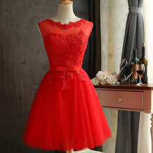 Load image into Gallery viewer, Zuolunouba 2018 Lace Diamond Summer Dress Women Sleeveless Lovely Bowknot Red Short Dress Slim Christmas Party Dresses Vestidos