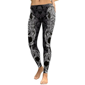 Skull Head 3D Printed Camouflage Leggings
