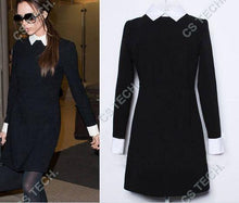 Load image into Gallery viewer, Fatika Fashion Autumn Winter Women'S Elegant Casual Dress Slim Peter Pan Collar Collar Long Sleeve Black Dresses For Women