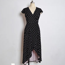 Load image into Gallery viewer, Polka Dot Dress Summer Dress Women Beach Dresses Bohemian V Neck Split Asymmetric Long Elegant Party Wrap Dress