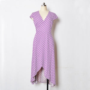 Polka Dot Dress Summer Dress Women Beach Dresses Bohemian V Neck Split Asymmetric Long Elegant Party Wrap Dress
