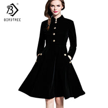 Load image into Gallery viewer, Plus Size Winter Dresses  Black Velvet Dress Women  Vintage Long Sleeves Audrey Hepburn Ladies Office Robe Dresses  D7D102A