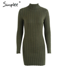 Load image into Gallery viewer, Simplee Casual turtleneck long knitted sweater dress women Cotton slim bodycon dress pullover female Autumn winter dress 2018