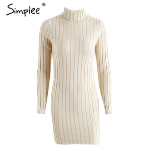 Simplee Casual turtleneck long knitted sweater dress women Cotton slim bodycon dress pullover female Autumn winter dress 2018