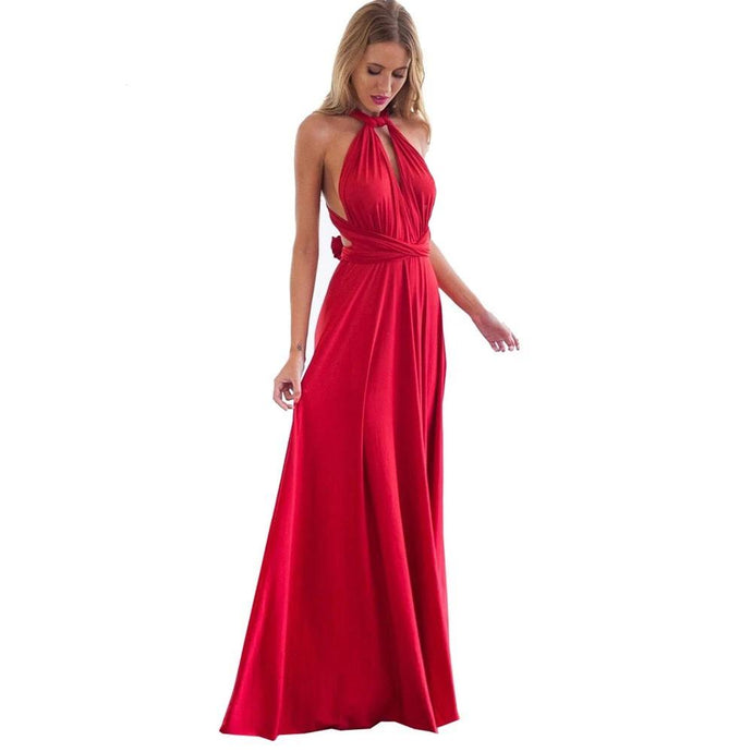 Sexy Women's Multiway Wrap Convertible Boho Maxi Red Dress Bandage Long Dress Party Bridesmaids Dress