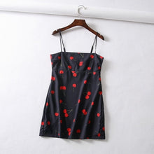 Load image into Gallery viewer, Vintage floral cherry print chiffon dress women beach dress Sexy spaghetti strap backless mini dress korean casual dress vestido