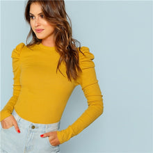 Load image into Gallery viewer, SHEIN Mustard Elegant Minimalist Puff Sleeve Rib Knit Solid Pullovers Slim Fit Tee 2018 Autumn Office Lady Women T-shirt Top