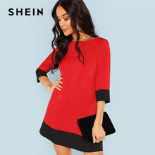 Load image into Gallery viewer, SHEIN Red Contrast Trim Tunic Dress Workwear Colorblock 3/4 Sleeve Short Dresses Women Autumn Elegant Straight Mini Dresses