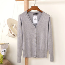 Load image into Gallery viewer, ARDLTME Knitting Cardigan Women Coat Solid 27 Color Spring and Autumn Fashion V-Neck Long Sleeve Croche Knit Sweater Coat Tops