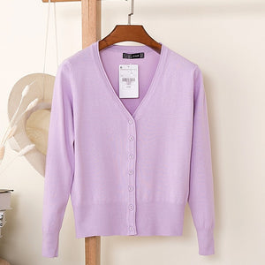 ARDLTME Knitting Cardigan Women Coat Solid 27 Color Spring and Autumn Fashion V-Neck Long Sleeve Croche Knit Sweater Coat Tops