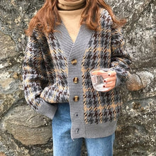 Load image into Gallery viewer, Danjeaner Autumn Winter Lattice Knitted Long Cardigans Loose Casual Preppy Style Thick Sweaters Jumpers Women Knitting Jackets