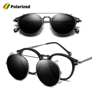 JackJad SteamPunk Vintage Round Style Polarized Sunglasses Clip On Lens Removable Brand Designer Sun Glasses 2775