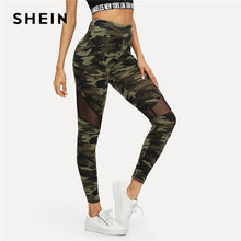 Load image into Gallery viewer, SHEIN Multicolor Mesh Insert Camo Print Leggings Sporting Patchwork Sheer Crop Pants Women Autumn Leggings