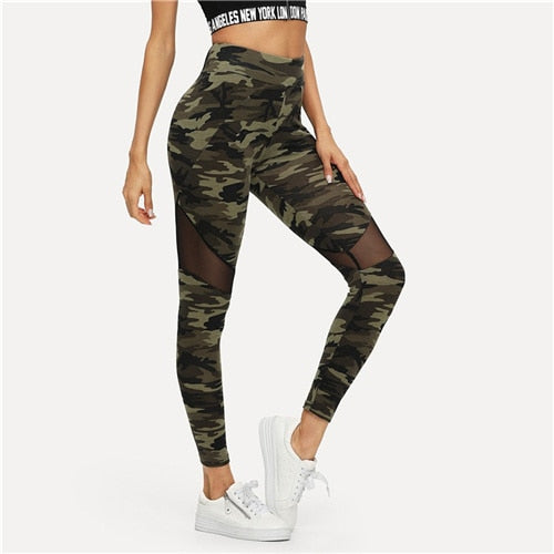 SHEIN Multicolor Mesh Insert Camo Print Leggings Sporting Patchwork Sheer Crop Pants Women Autumn Leggings