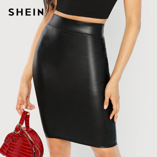 SHEIN Black Wide Waistband Solid Skinny Skirt Elegant Workwear Knee Length Mid Waist Skirts Women Autumn Sheath Pencil Skirt