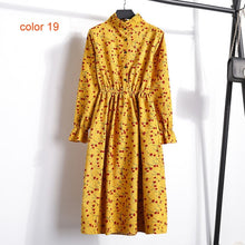 Load image into Gallery viewer, Winter Corduroy Floral Print Women Elastic Waist Autumn Winter Dress Stand Collar Beach Dress Vestidos Party Female High Quality