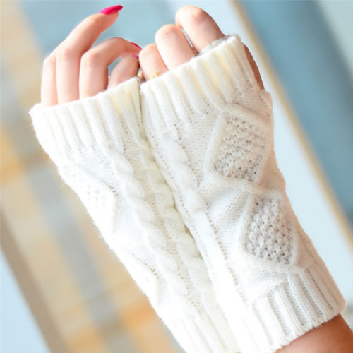 Unisex Women's Men's Soft Half Finger Gloves Winter Warmer Knitted Mittens Fingerless Protection Arm Stretchy Gloves Mittens