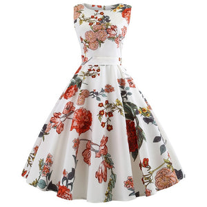 Summer Women Dress Plus Size Casual Midi Work Office Party Sundres Sleeveless Floral Print Elegant Vintage Pin up Dresses jurken