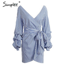 Load image into Gallery viewer, Simplee Off shoulder lantern sleeve wrap women dress Blue stripe bow belt sexy dress Autumn winter plaid shirt dress vestidos
